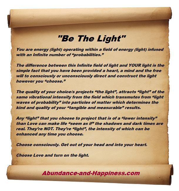 You are light operating in a field of light